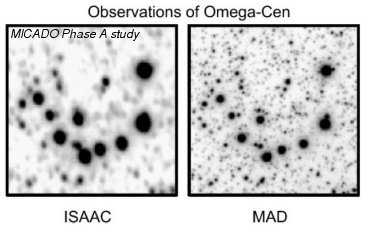omparative view of observations and simulations of a crowded field, the center of the globular cluster Omega-Cen; upper row today's observations with VLT
