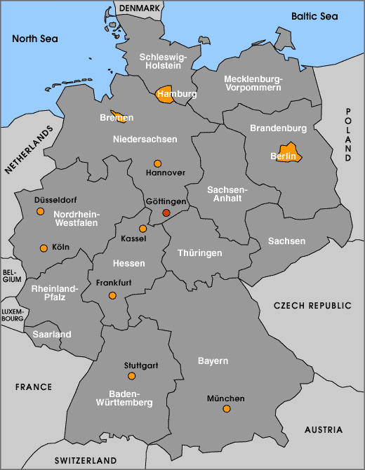 GeorgAugustUniversit t G ttingen A Map of Germany – A Map of Germany