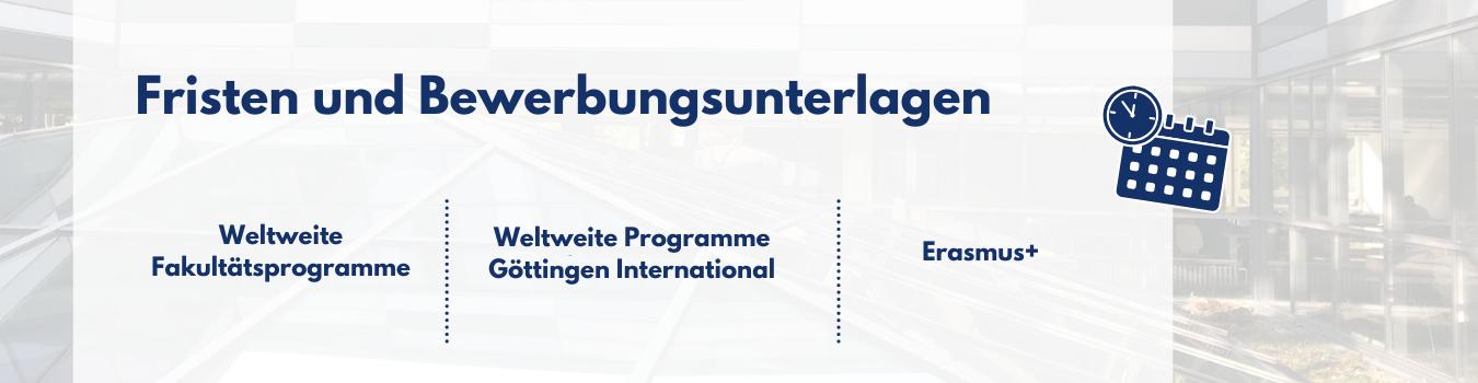 Auslandssemester Fristen & Bewerbungsunterlagen