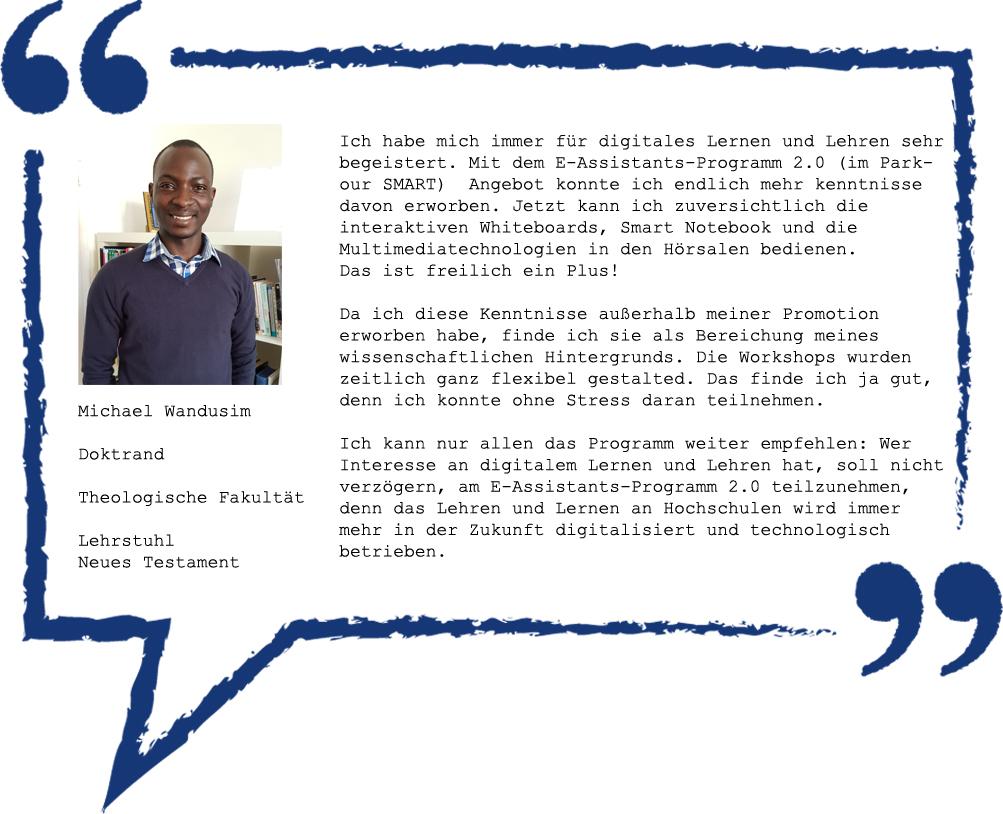 Meinung von Michael Wandusim zum E-Assistants-Programm 2.0