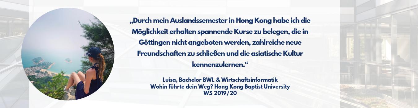 Auslandssemester Luisa Hong Kong
