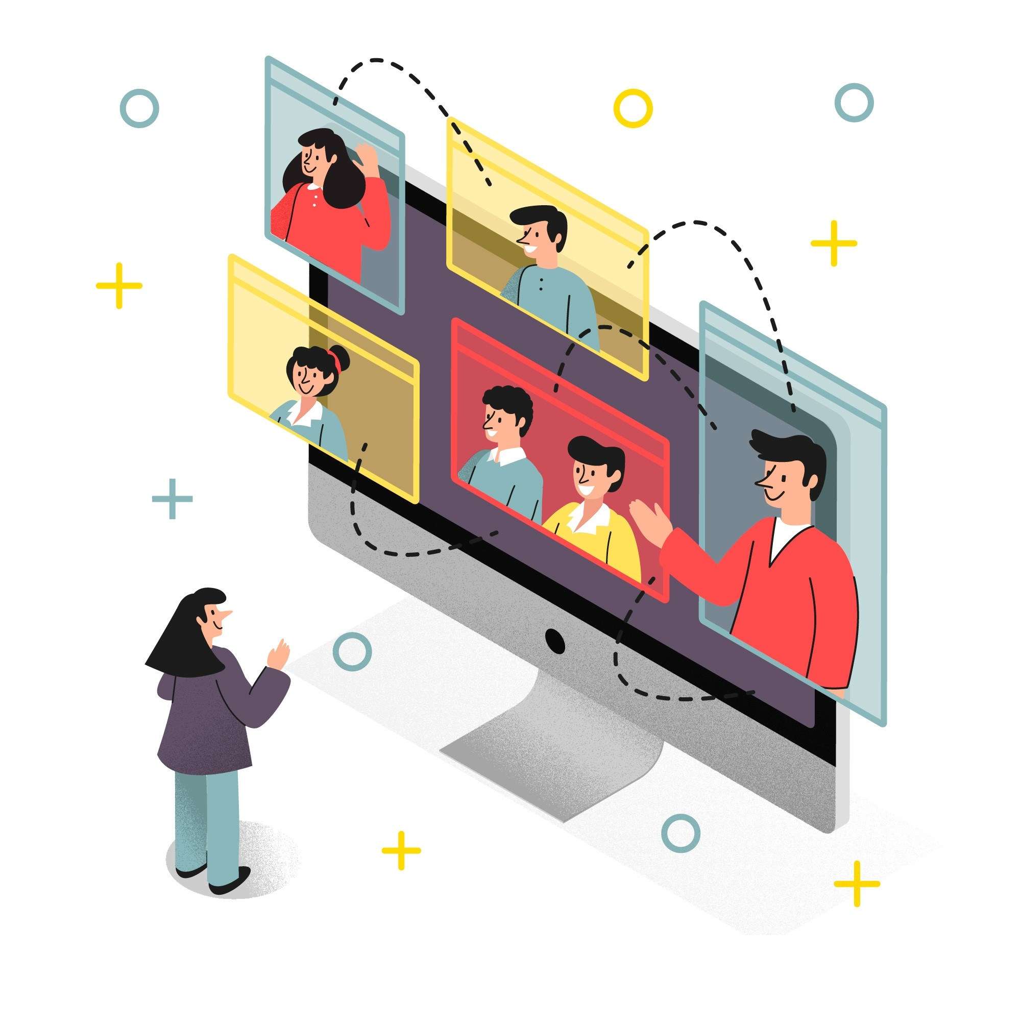 Illustration von Personen, die in Videokonferenzen miteinander reden