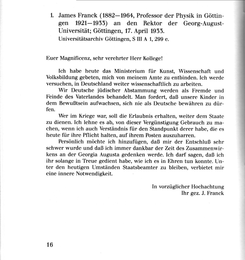 Brief von james franck an den rektor der georg august for Physik studium nc
