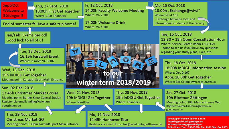 Welcome Events Incomings WiSe 18/19