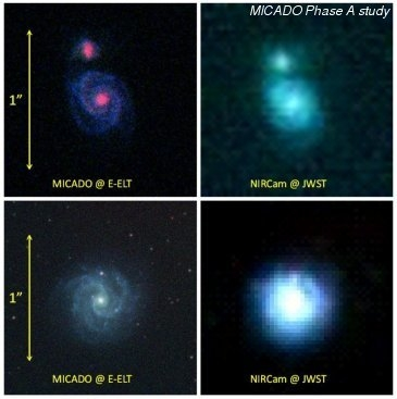 Simulated view of a high-z galaxy as it would appear in MICADO (left) and for James-Webb-Space-Telescope (right).