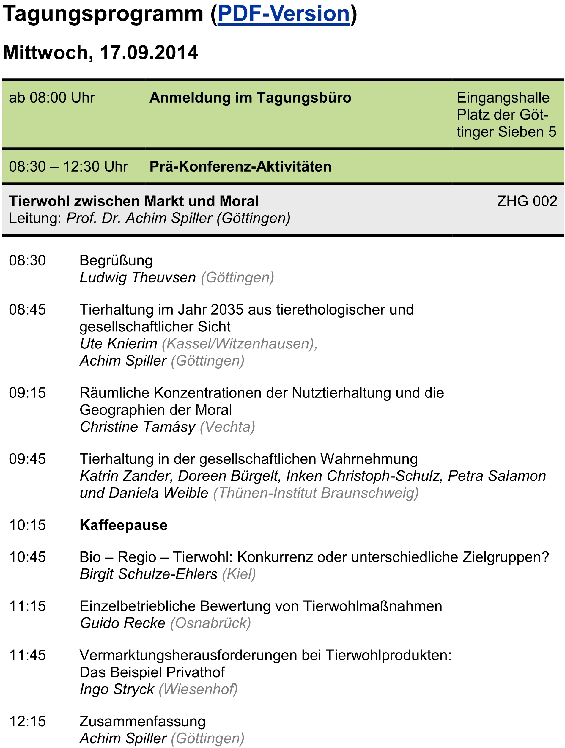 Programme Georg August Universität Göttingen