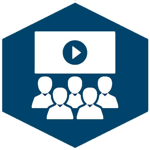 Lernen mit Videos (Icon blau)